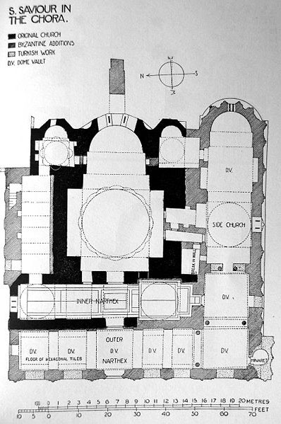 Sketch map of the interior plan of the Chora Church