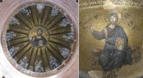Fethiye Camii - Parecclesion: (left) dome Christ Pantocrator surrounded by twelve prophets; (right) apse Christ Hyperagathos (good beyond measure)