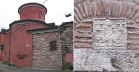 St. Mary of the Mongols; (right) relief on its gate showing the heraldic symbol of the Palaeologos