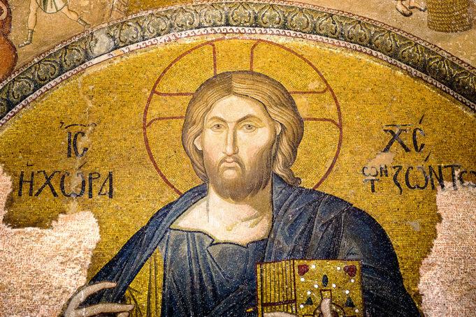Christ pantocrator. Mosaic in Cora Church